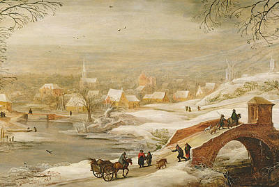 Horse And Cart Painting - A Winter River Landscape by Joos or Josse de, The Younger Momper