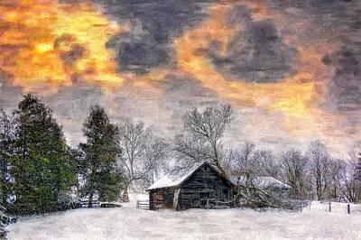A Winter Sky Paint Version Print by Steve Harrington