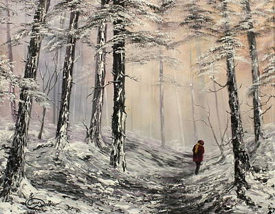 Buzzard Painting - A Winter Walk by Jean Walker