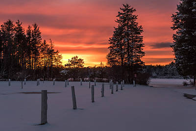 A Winters Sunset Lakehurst Nj Print by Terry DeLuco