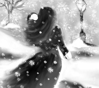 Stormy Weather Drawing - A Winters Walk by Lori  Lovetere