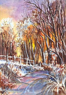 Woodlands Scene Mixed Media - A Firey Winter Sunset by Carol Wisniewski