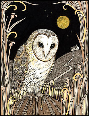 Owl Drawing - A Wise One Waits by Anita Inverarity