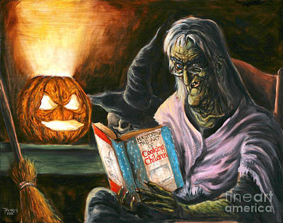 Cookbook Painting - A Witch Reading by Mark Tavares
