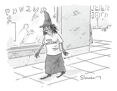 Wiccan Drawing - A Witch Walks On The Sidewalk Wearing A Hat by Danny Shanahan