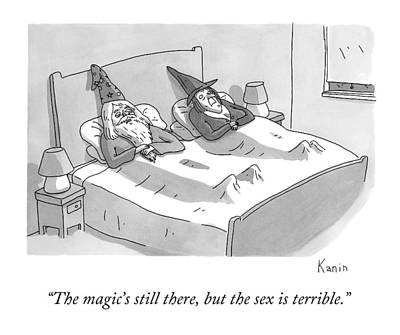 Wizard Drawing - A Wizard And A Witch Lay In Bed Together by Zachary Kanin