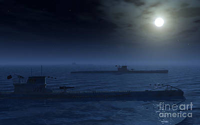 Foreign Military Digital Art - A Wolfpack Of German U-boat Submarines by Mark Stevenson