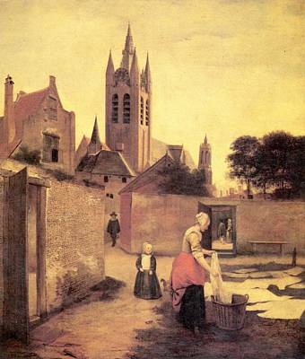 Netherlands Painting - A Woman And A Child On A Bleichwiese by Pieter de Hooch