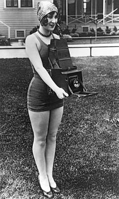 Large Format Photograph - A Woman And Her Camera by Underwood Archives