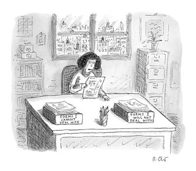 Will Drawing - A Woman At A Desk With One Organizer That Says by Roz Chast