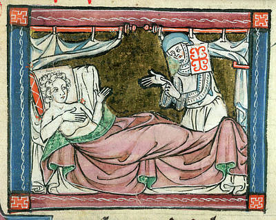 Arthurian Photograph - A Woman In Bed Attended By A Nun by British Library