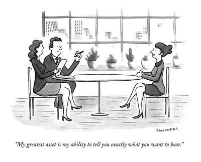 A Woman Interviews For A Job Print by Drew Panckeri