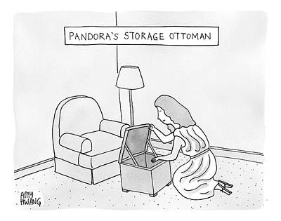 Pandora Drawing - A Woman Looks Down Into A Storage Ottoman -- by Amy Hwang