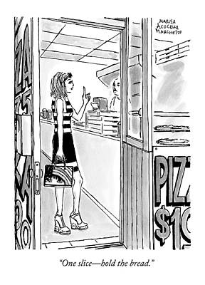 A Woman Orders A Pizza At The Counter Print by Marisa Acocella Marchetto