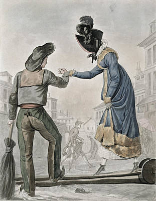 A Woman Paying A Street Sweeper Print by Antoine Charles Horace Vernet