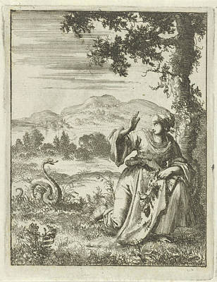 A Woman Picking A Flower Attacked By A Snake Print by Jan Luyken And Pieter Arentsz Ii