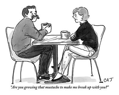 A Woman Talks To A Man With A Mustache Print by Carolita Johnson