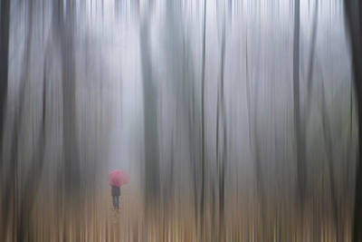 Rainy Day Photograph - A Woman Walking With A Red Umbrella by Mats Silvan