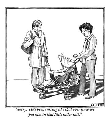 Stroller Drawing - A Woman With A Baby Carriage Addresses Another by Matthew Diffee