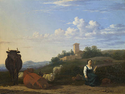 Italian Landscapes Painting - A Woman With Cattle And Sheep In An Italian Landscape by Karel Dujardin