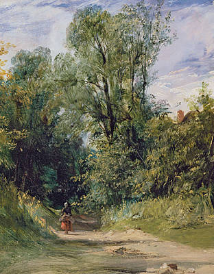 Perspective Painting - A Wooded Lane by Richard Parkes Bonnington