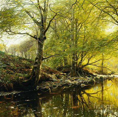 River Bank Painting - A Wooded River Landscape by Peder Monsted