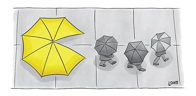 Pacman Drawing - A Yellow Umbrella With A Pacman Mouth by Christian Lowe
