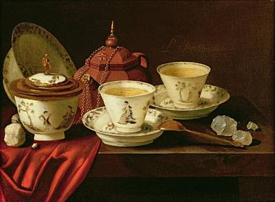 Tea Set Photograph - A Yixing Teapot And A Chinese Porcelain Tete-a-tete On A Partly Draped Ledge Oil On Canvas by Pieter Gerritsz. van Roestraten