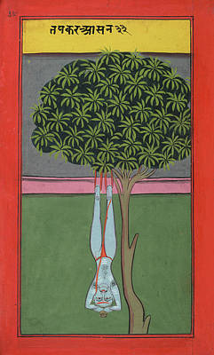 A Yogi Hanging By His Feet Print by British Library