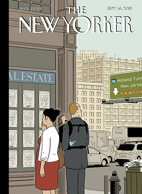 A Young Family Reviews Real Estate Listings Print by Adrian Tomine