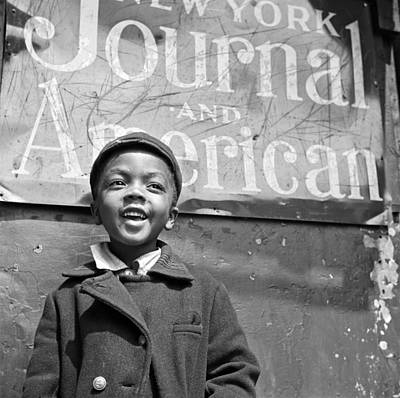Harlem Photograph - A Young Harlem Newsboy by Underwood Archives