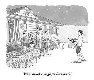 Fireworks Drawing - A Young  Man Carries A Box Of Fireworks by Trevor Spaulding