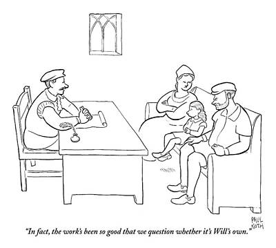 Copy Drawing - A Young William Shakespeare Is Questioned by Paul Noth