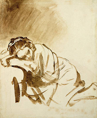 Reclining Drawing - A Young Woman Sleeping by Rembrandt Harmensz van Rijn