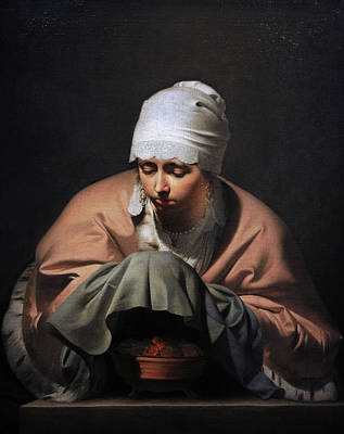 Allegory Photograph - A Young Woman Warming Her Hands Over A Brazier Allegory Of Winter, C. 1644-1648, By Cesar Boetius by Bridgeman Images
