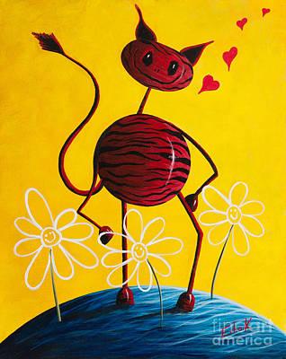 Zebra Painting - A Zebra Kind Of Love By Shawna Erback by Shawna Erback