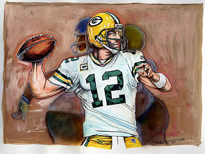 Quarterback Drawing - Aaron Rodgers by Dave Olsen