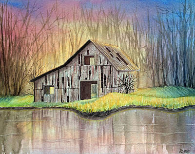 Watercolor Painting - Abandoned By The Water by Rebecca Davis