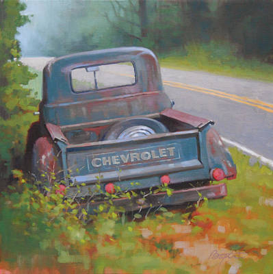 Old Trucks Painting - Abandoned Chevy by Todd Baxter