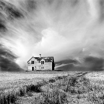 Abandoned Farm House In Stubble Field Print by Donald  Erickson