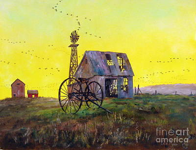 Abandoned Farm House Painting - Abandoned  Farm by Lee Piper