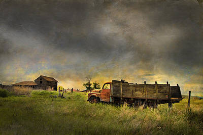 Fence Posts Photograph - Abandoned Farm Truck by Theresa Tahara