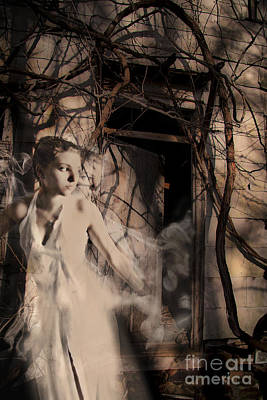 Fantasy- Abandoned House - Even The Last Ghost Left Print by Feryal Faye Berber