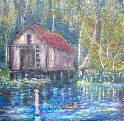 Boardroom Mixed Media - Abandoned House On St. John's River by Shirley Shepherd