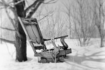Abandoned Rocking Chair In Woods Print by Donald  Erickson