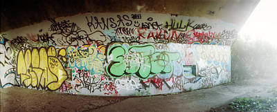 Messy Photograph - Abandoned Underpass Wall Covered by Panoramic Images