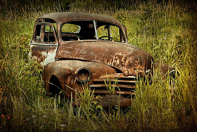 Abandoned Vintage Car Along The Roadside In Ontario Canada Print by Randall Nyhof