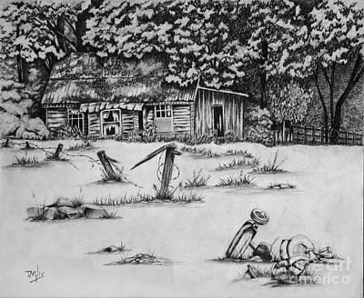 Tricycle Drawing - Abandonment by Terri Mills