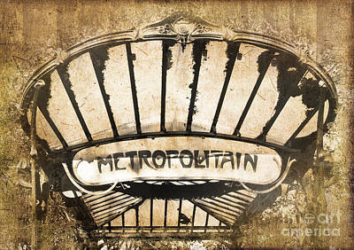 Metro Art Photograph - Abbesses Metropolitain by Delphimages Photo Creations