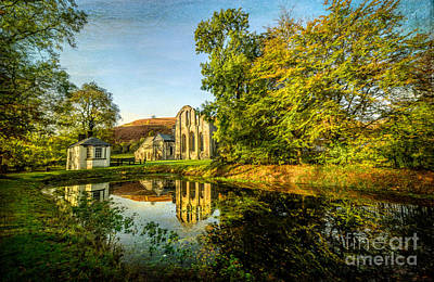 Llangollen Digital Art - Abbey Lake Autumn by Adrian Evans